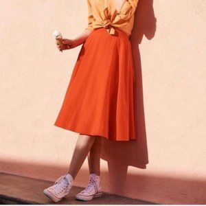 Uniqlo Orange Midi Circle Skirt with Pockets